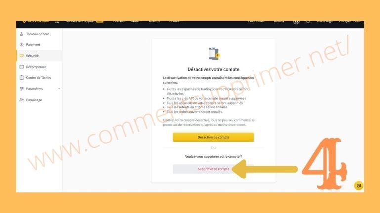 Supprimer Compte Binance etape 3